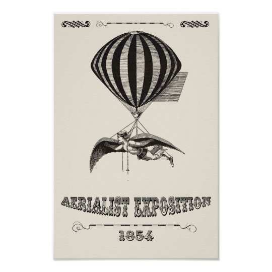 Steampunk Man with Wings & Hot Air Balloon Poster