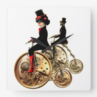 Steampunk man woman penny farthings gifts by LeahG Square Wall Clock