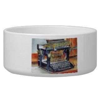 Steampunk - máquina de escribir del vintage tazón para perro
