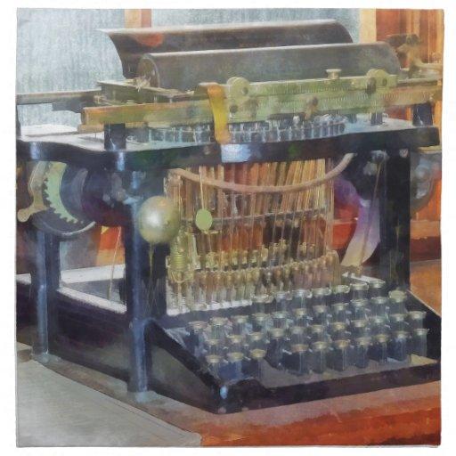 Steampunk - máquina de escribir del vintage servilleta imprimida