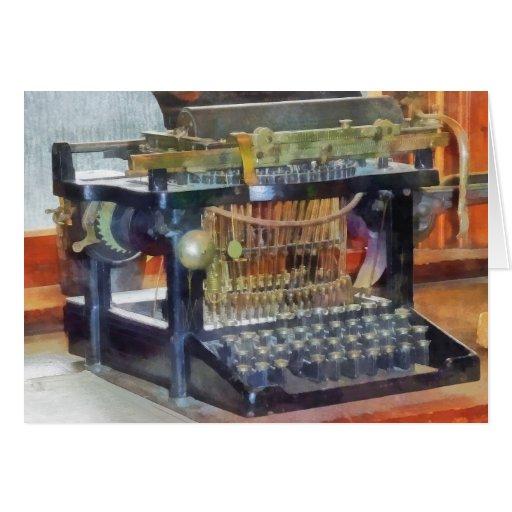 Steampunk - máquina de escribir del vintage tarjetas