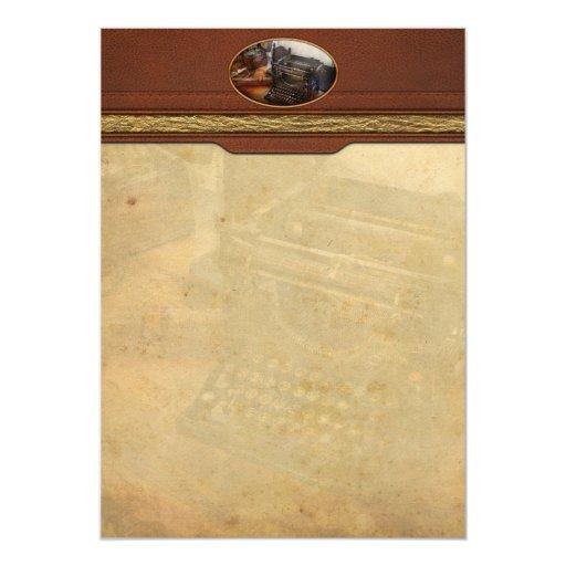 Steampunk - máquina de escribir - el mensajero invitación 12,7 x 17,8 cm