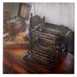 Steampunk - máquina de escribir - el mensajero sec tejas  cerámicas