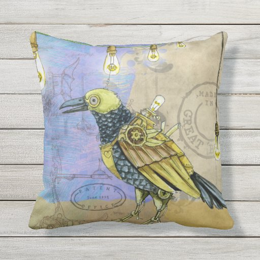 Steampunk Mechanical Bird Engineering Father's Day Outdoor Pillow