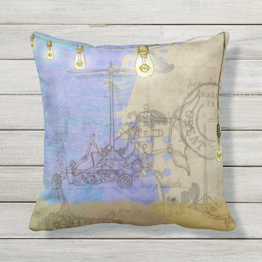 Steampunk Mechanical Edison Light Bulb Architect Outdoor Pillow