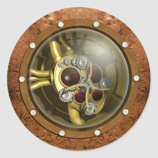 Steampunk Mechanical Heart Classic Round Sticker