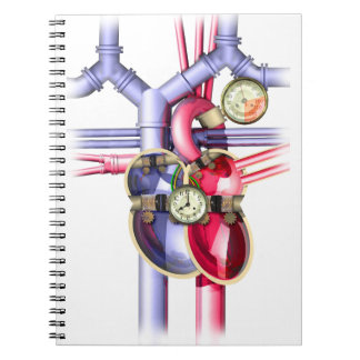 Steampunk Mechanical Heart Spiral Notebook
