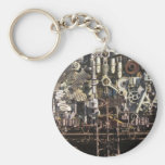 Steampunk mechanical machinery machines basic round button keychain