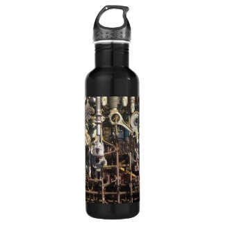 Steampunk mechanical machinery machines stainless steel water bottle