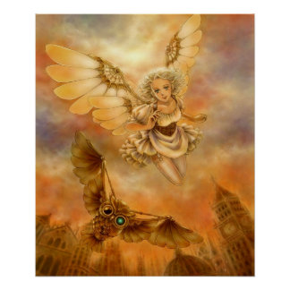 Steampunk Mechanical Owl and a Girl Fantasy Poster