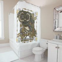 Steampunk Mechanical Owl Shower Curtain