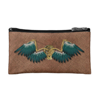 Steampunk Mechanical Wings Brown Makeup Bag