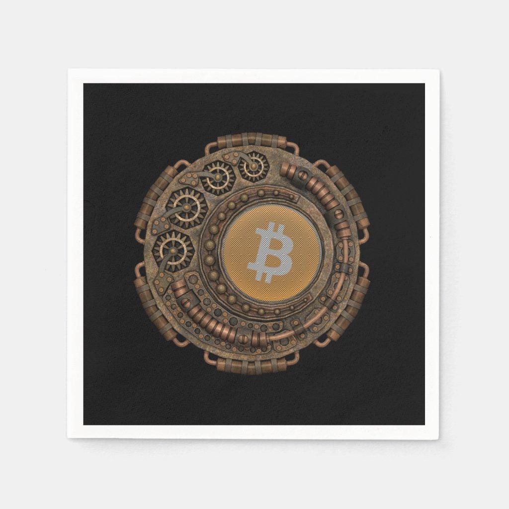 Steampunk meets bitcoin napkin