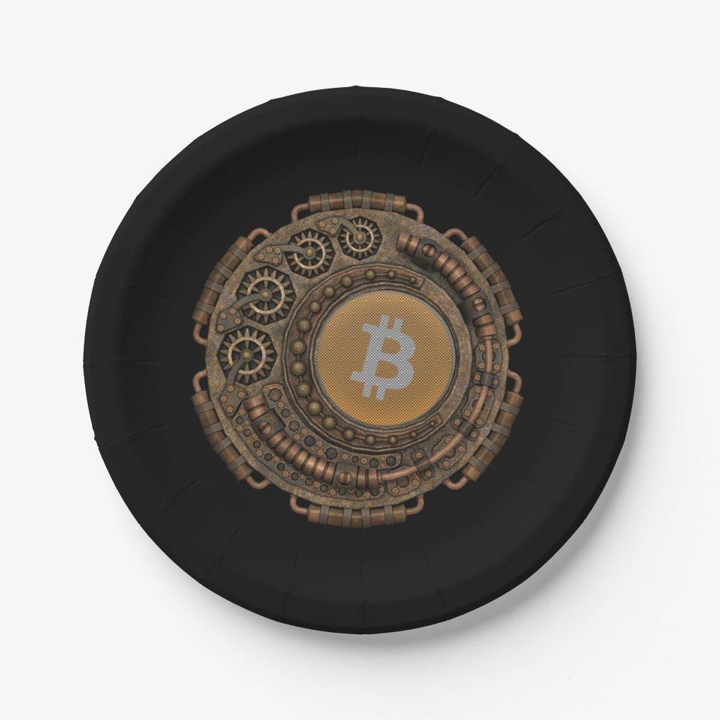 Steampunk meets bitcoin paper plate