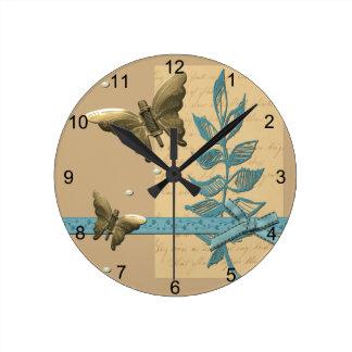Steampunk Metal Butterfly Round Clock