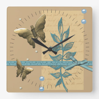 Steampunk Metal Butterfly Square Wall Clock