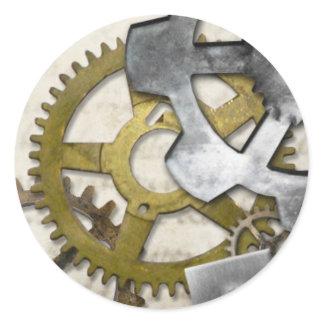 Steampunk Metal Gears Industrial Sticker. Classic Round Sticker