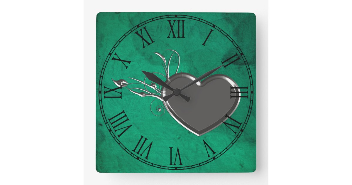 Steampunk Metal Heart Square Wall Clock Zazzle