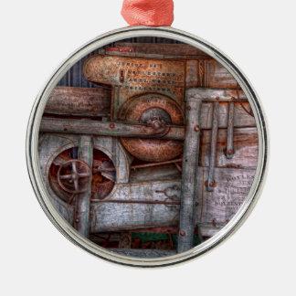 Steampunk - mi máquina nueva y mejorada adorno redondo plateado