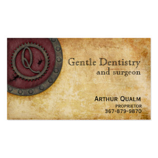 Steampunk Monogram Antique Claret Q Double-Sided Standard Business Cards (Pack Of 100)