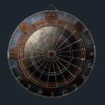 "Steampunk Moon Clock Time Metal Gears Dartboard<br><div class=""desc"">Decorative steampunk style metal moon clock with gears.</div>"
