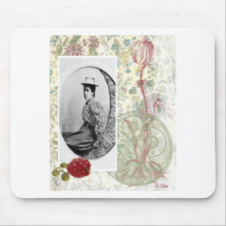 Steampunk Moon Victorian Lady Woman Vintage Photo Mouse Pad