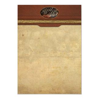 Steampunk - Motorized 5x7 Paper Invitation Card