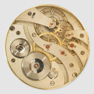Steampunk moving parts gold round stickers