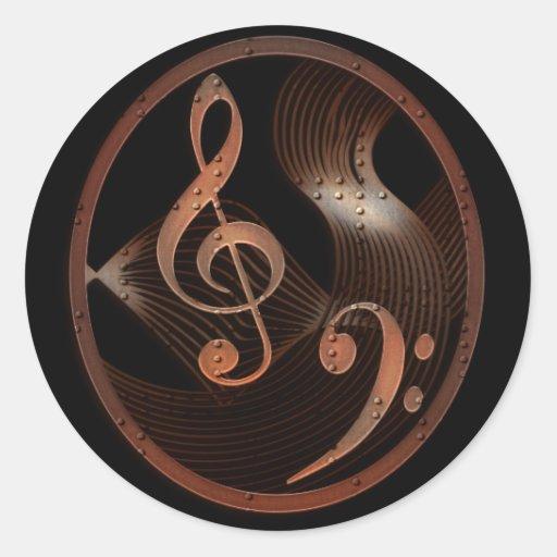 Steampunk Music Design round stickers