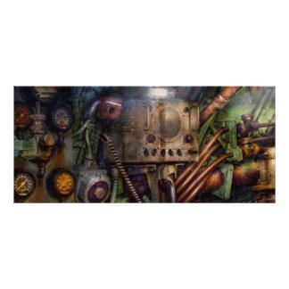 Steampunk - naval - la estación del comm tarjeta publicitaria a todo color