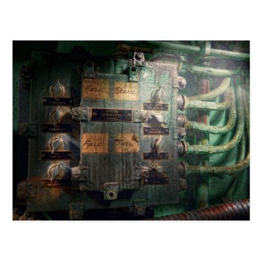 Steampunk - naval - panel de control de tarjeta postal