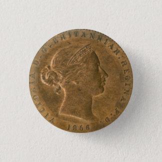 Steampunk Nostalgic 1866 British Penny Art Pinback Button