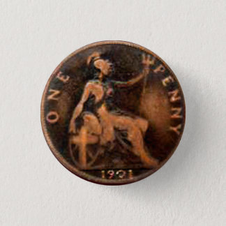 Steampunk Nostalgic 1901 British Penny Art Pinback Button