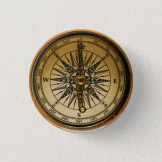 Steampunk Nostalgic Old Brass Compass Button