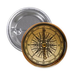 Steampunk Nostalgic Old Brass Compass 1 Inch Round Button