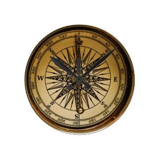 Steampunk Nostalgic Old Brass Compass Round Wall Clock