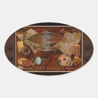 Steampunk Nostalgic Victorian Collage Art Oval Sticker