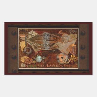 Steampunk Nostalgic Victorian Collage Art Rectangular Sticker