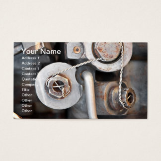 Steampunk nuts and bolts with wire business card