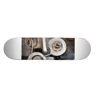 Steampunk nuts and bolts with wire skate board decks