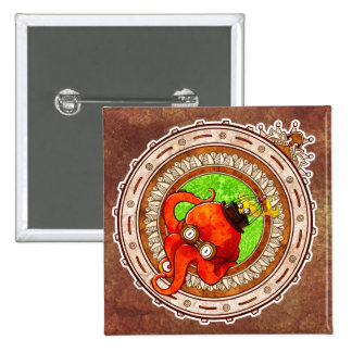 Steampunk Octopus 2 Inch Square Button
