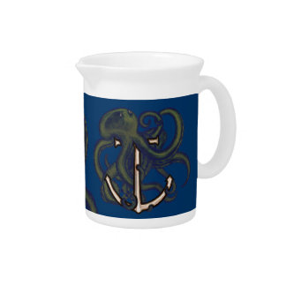 Steampunk Octopus Over Anchor Beverage Pitchers