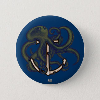 Steampunk Octopus Over Anchor Button