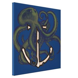Steampunk Octopus Over Anchor Canvas Print