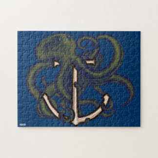Steampunk Octopus Over Anchor Jigsaw Puzzle