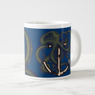 Steampunk Octopus Over Anchor Large Coffee Mug