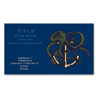 Steampunk Octopus Over Anchor Magnetic Business Card