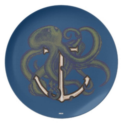 Steampunk Octopus Over Anchor Melamine Plate