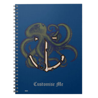 Steampunk Octopus Over Anchor Spiral Note Books