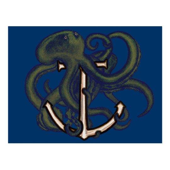Steampunk Octopus Over Anchor Postcard